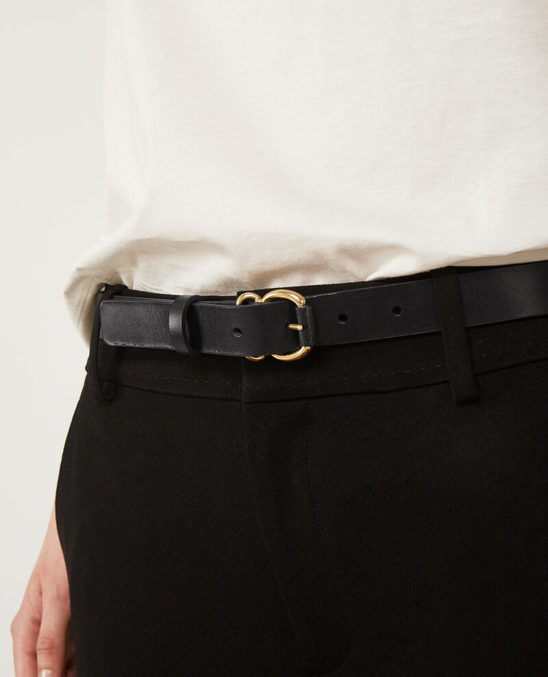 Leather belt Noir Dean