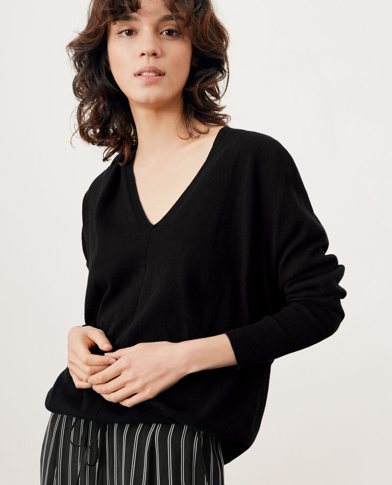 Oversize cotton and cashmere jumper NOIR