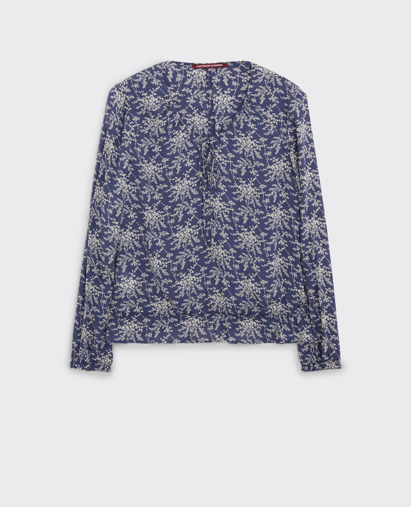 Print blouse with frill Romantic garden ink blue 9chou