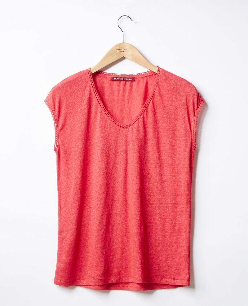 Linen T-shirt Ultra pink Fevian