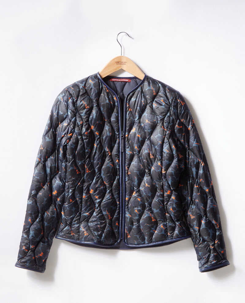 Printed pocketable puffa jacket Blossom shadow indigo/navy Fefile