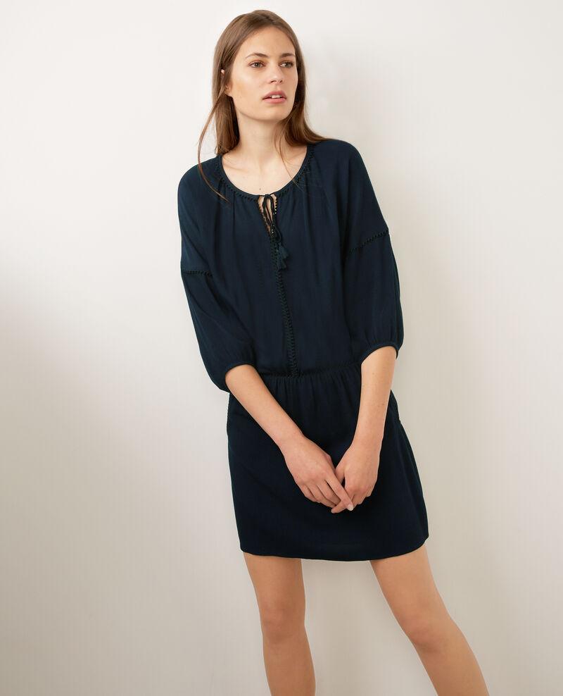 Drop-waist dress with folk spirit Dark ocean Brook