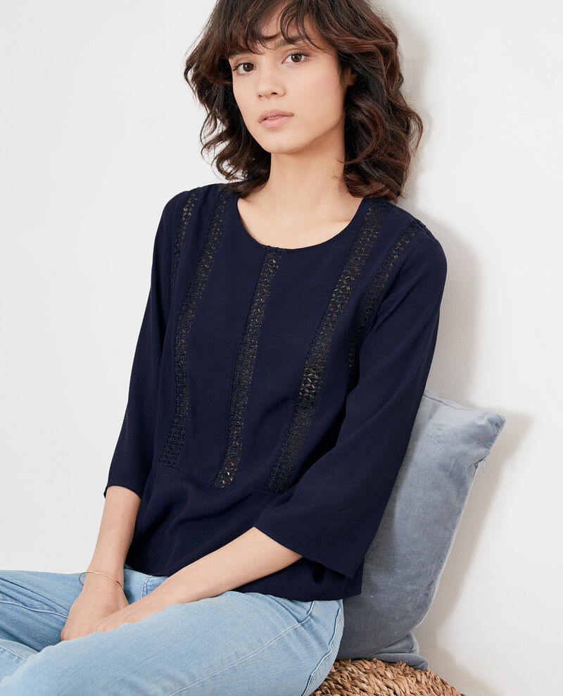 Peplum blouse with lace Marine Fabouret