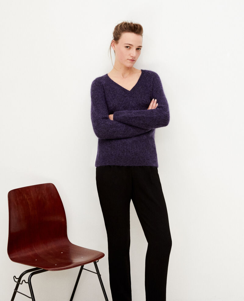 Jumper with mohair and lurex PURPLE/NOIR/LUREX