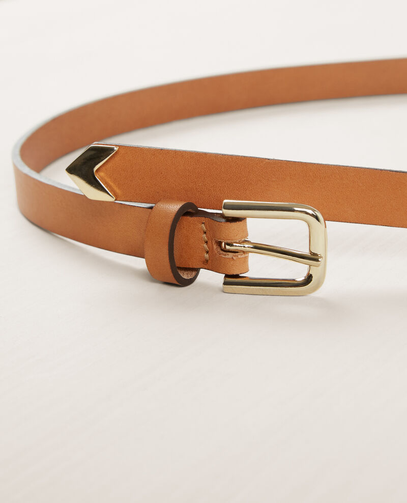 Thin leather belt Sepia Cooper