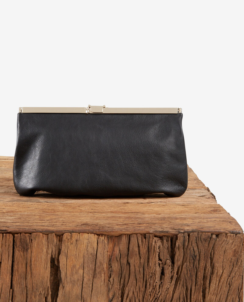 Leather clutch bag NOIR
