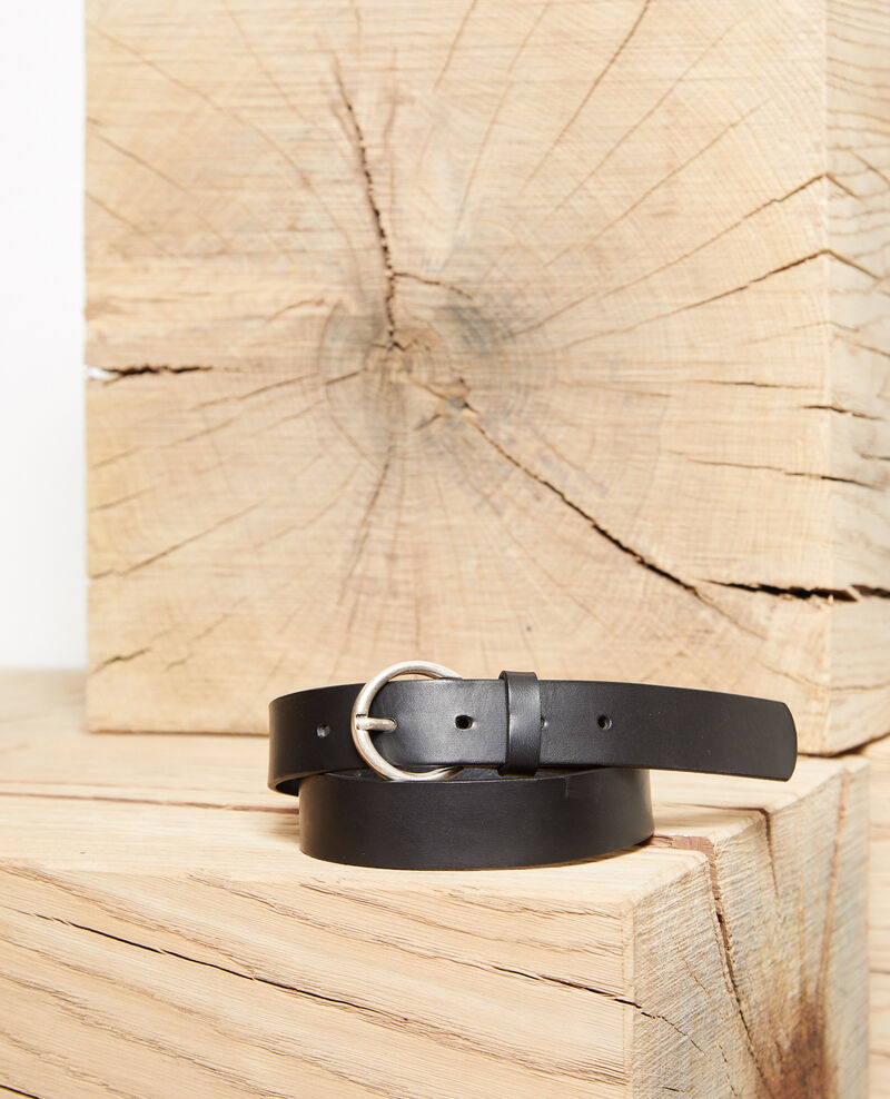 Smooth leather belt, medium model NOIR