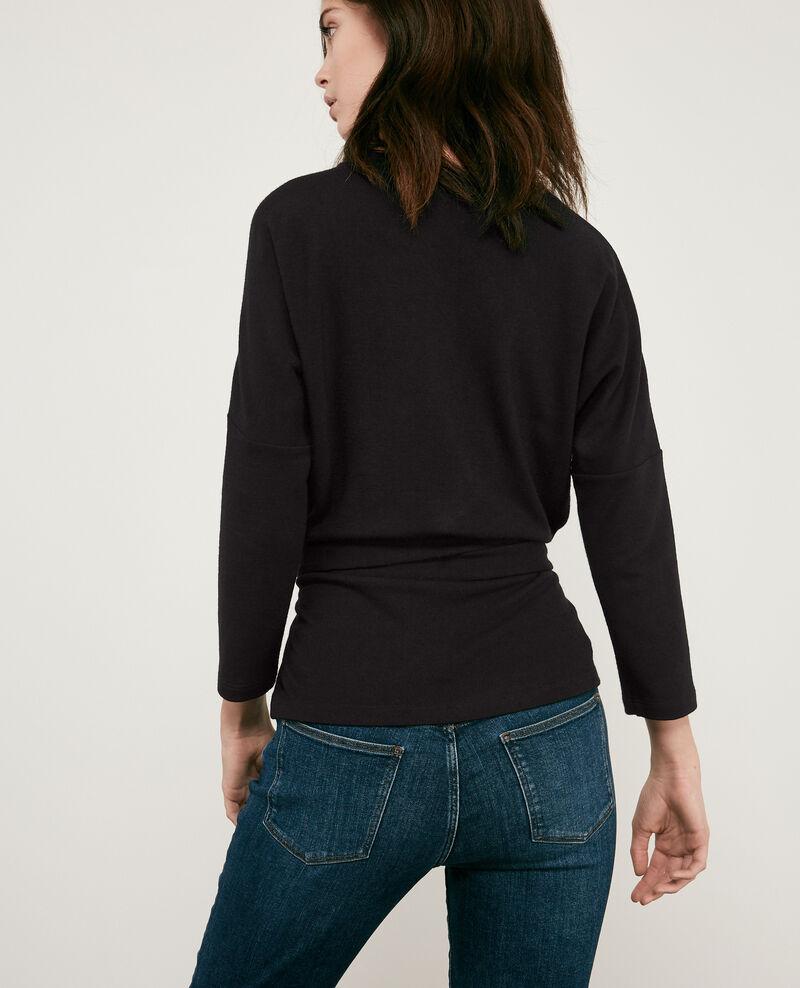 Wool blend belted sweater Noir Debongout