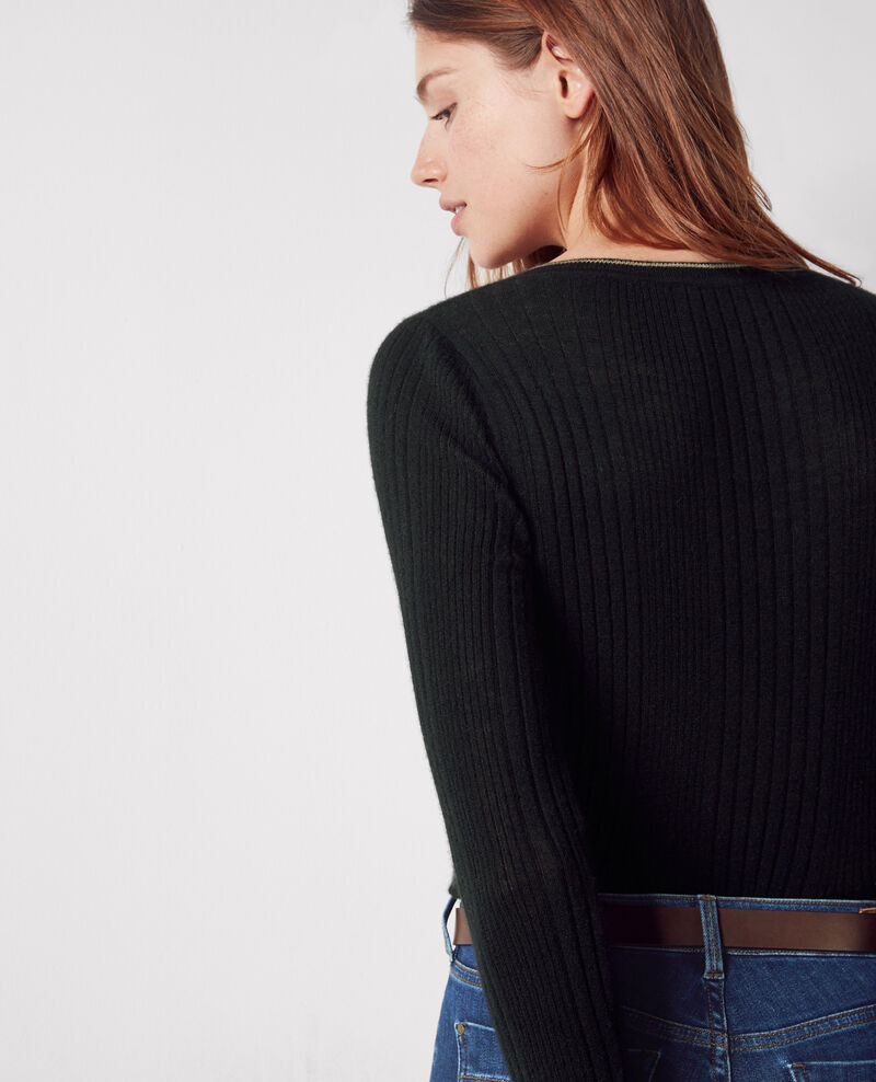 Fine-knit ribbed cashmere cardigan Noir/noyer Colette