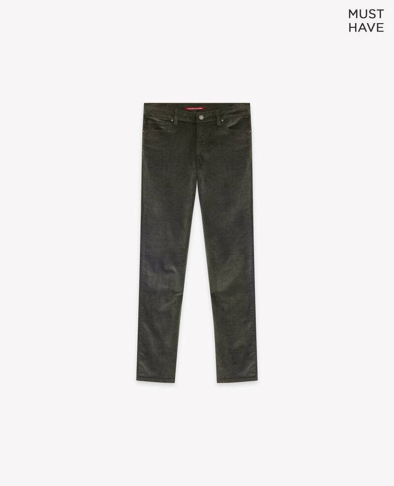 Stretch velvet cigarette pants Deep green Decharpe
