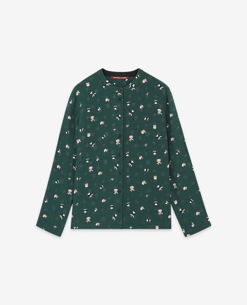 Printed shirt Pinecones deep green 9davocat