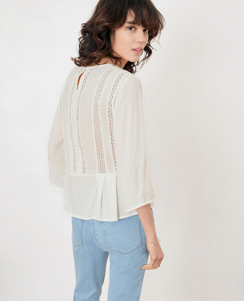 Peplum blouse with lace Off white Fabouret