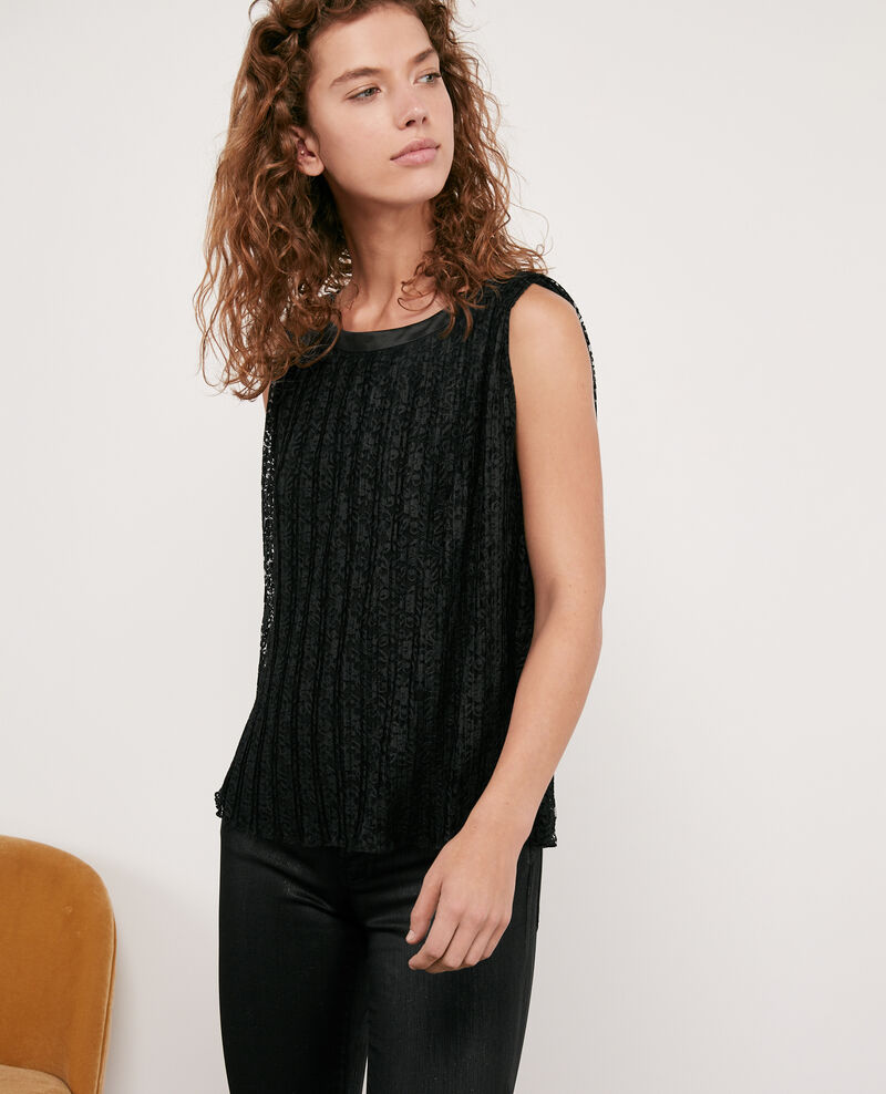 Pleated lace top Noir Deverneuil