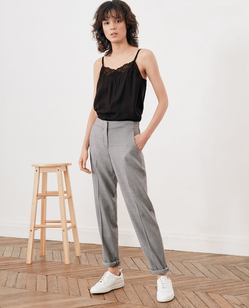 Houndstooth jacquard trousers Pied de poule Futon