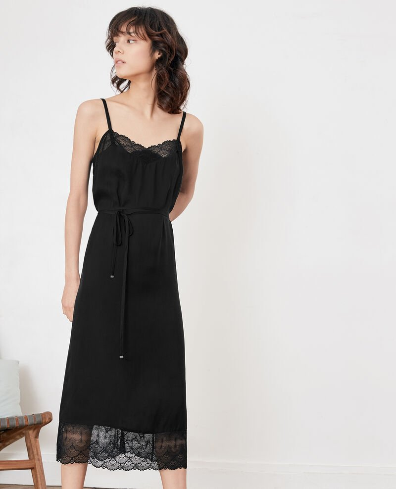 Nightie-style dress with lace NOIR