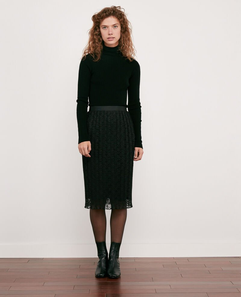 Pleated lace skirt Noir Dohio
