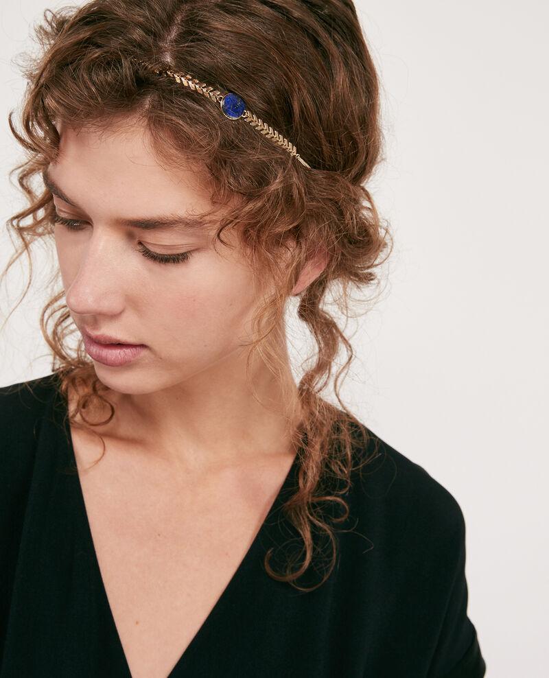 Headband with round lapis lazuli pendant Gold/sapphire Dheadband