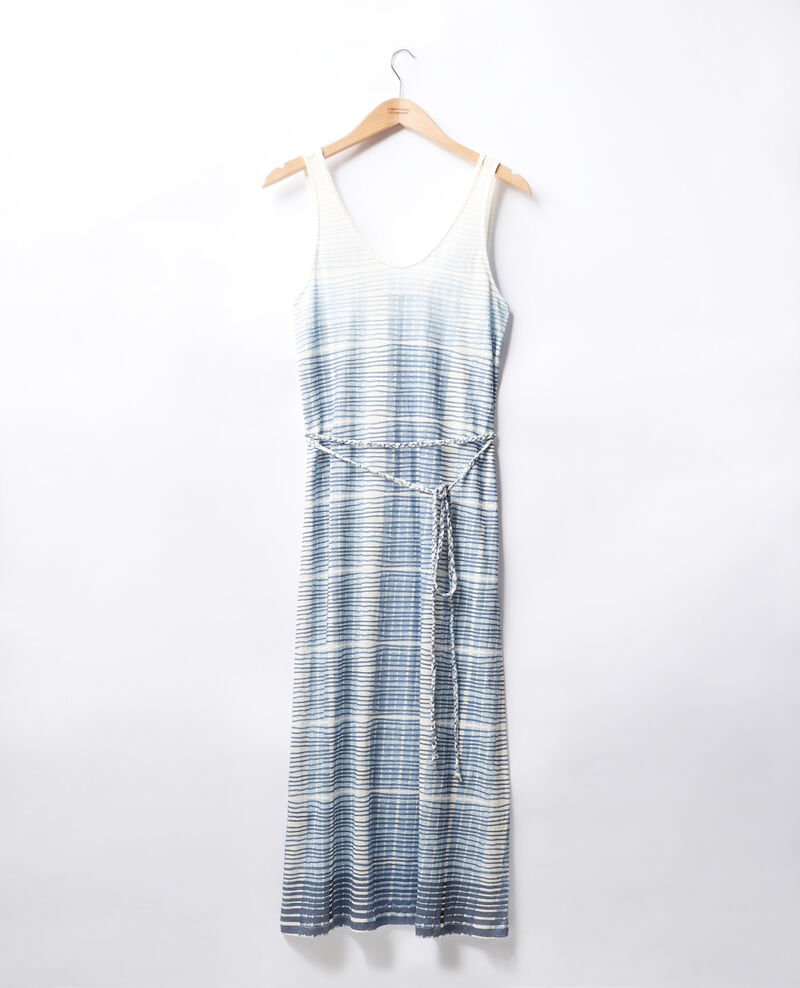 Linen mid-length dress TIE&DYE WASHED BLUE