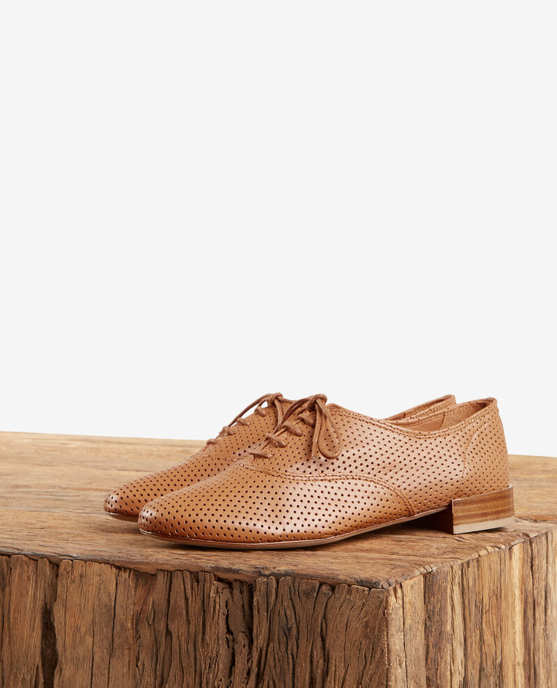 Perforated leather derbies COGNAC