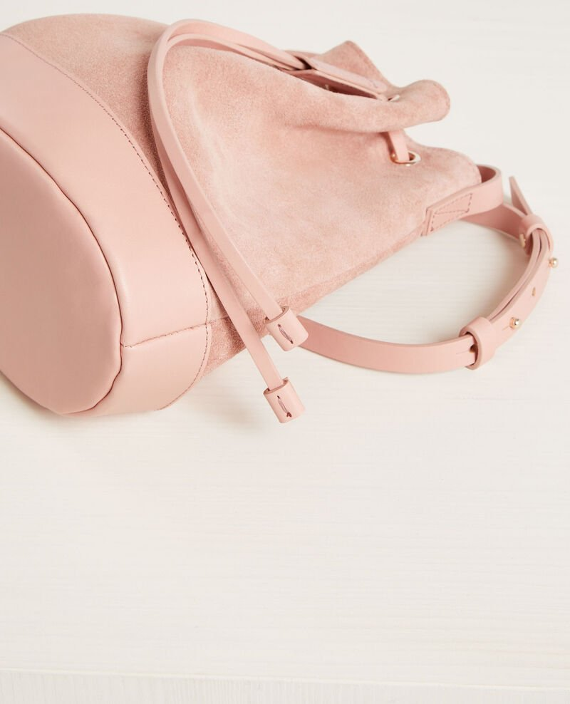 Small suede leather duffel bag Peach Calin