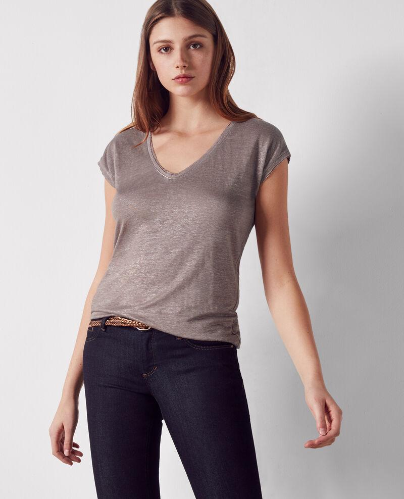 Iridescent linen t-shirt Moka Citron