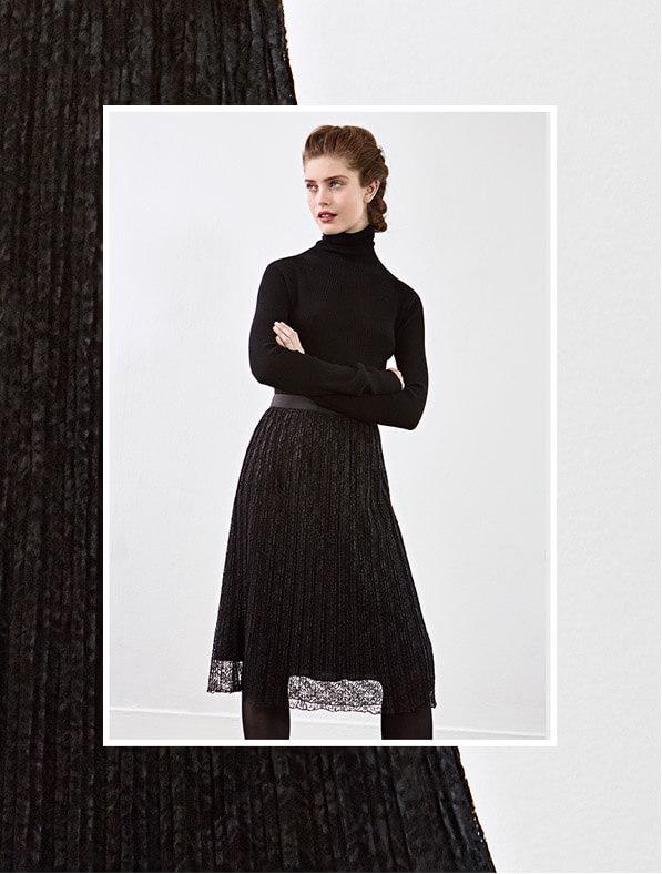 Look femme - Pull en cachemire et jupe imprimée