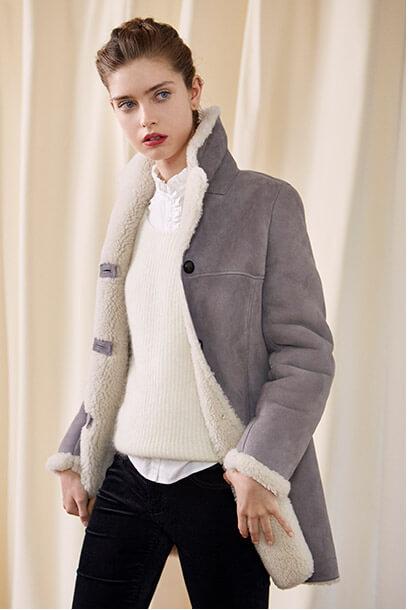 Look - Sheepskin coat, Ruffle shirt, Cigarette jeans