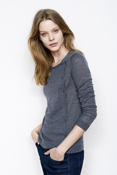 Woman look Short cardigan and straight jeans