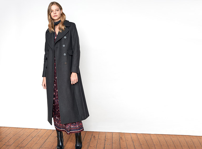 Women look – wool coat and maxi dress
