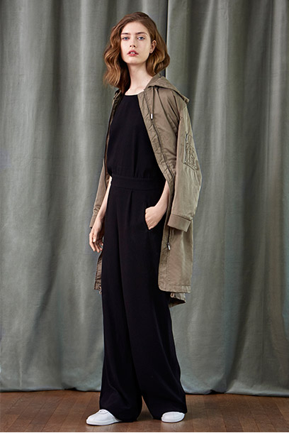 Look - Crepe jumpsuit and parka