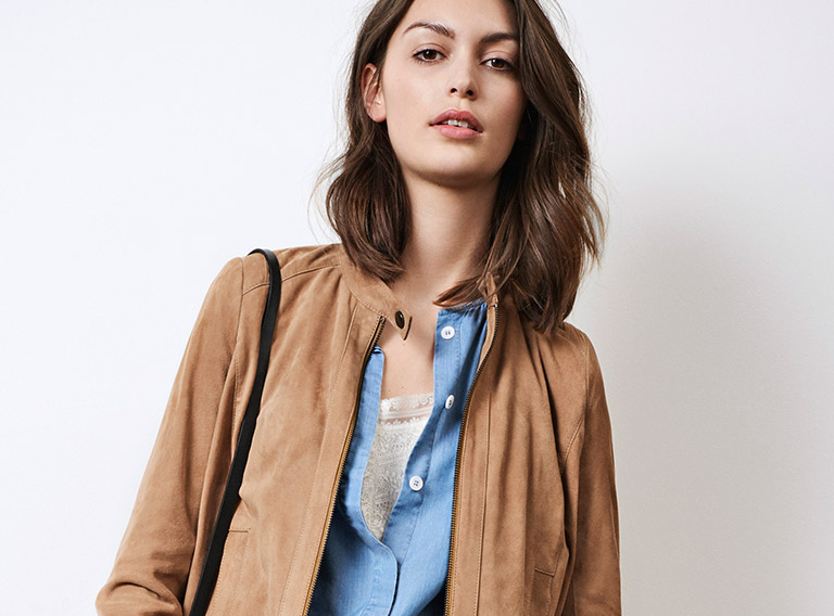 Look - Suede jacket, denim blouse and lace top