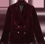 Veste tailleur double boutonnage en velours