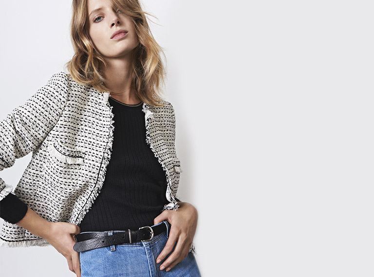 Women look -  Tweed jacket and cashmere jumper