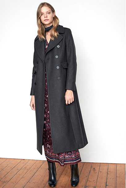 Women look frock coat and printed maxi dress
