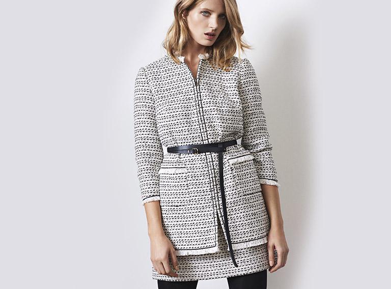 Women look -  Tweed coat and tweed skirt