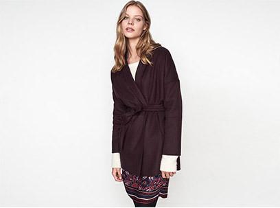 Women look – wool coat and boho dress