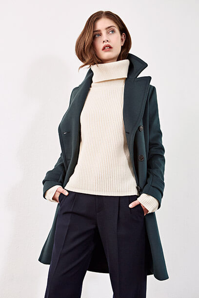 Look - Pea coat, Trousers, Wool jumper, Leather trainers