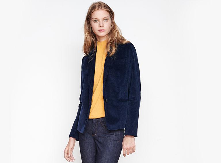 Woman look Velvet blazer and straight jeans