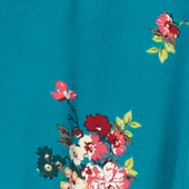 Shirt with pyjama-style collar Fleurs pacific green Fashiona