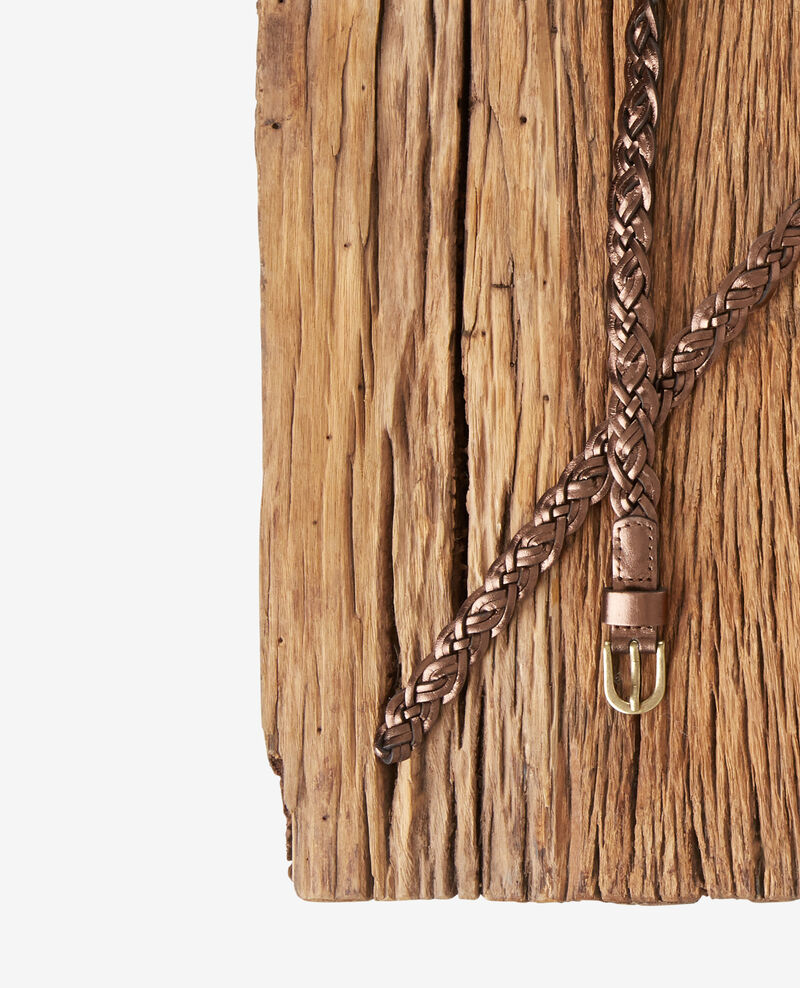 Braided leather belt Marron cuivre Fronce