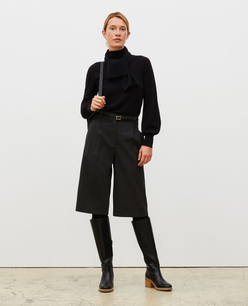 Wide Prince of Wales wool bermuda shorts Check-wool-pattern-tailoring Marcelcave