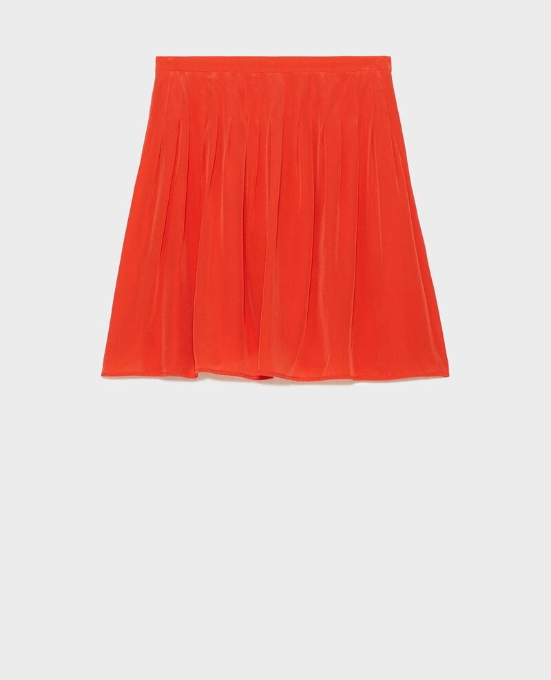 Pleated flared silk mini skirt Valiant poppy Monan