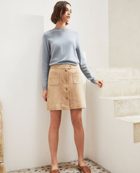 Suede mini skirt Beige