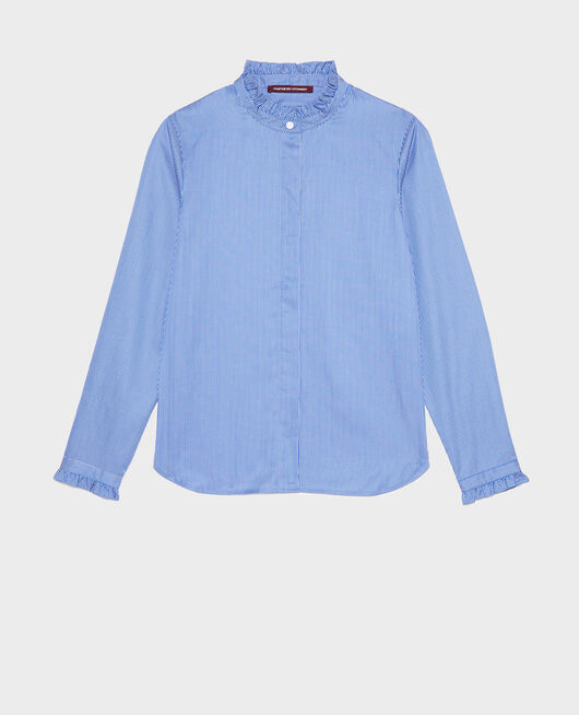 Ruffled high collar cotton shirt BLUE AS PROTO