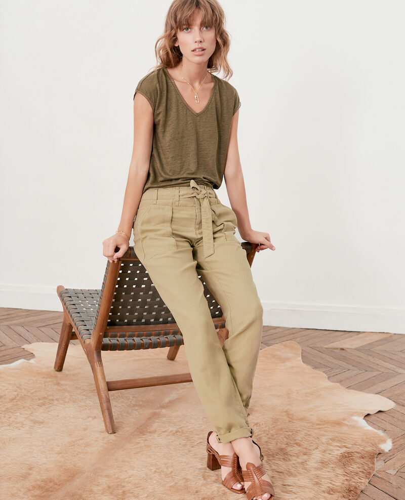 Belted chino trousers  Mastic Faaron
