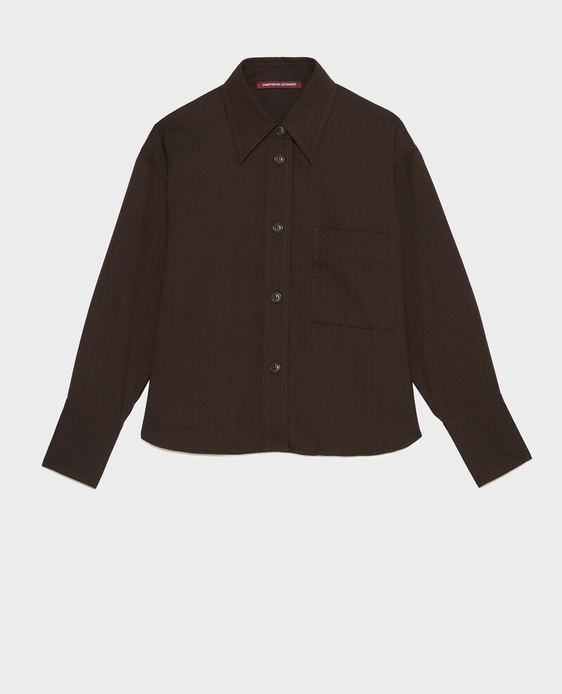 Chevron wool cropped overshirt  Coffee bean Meudon