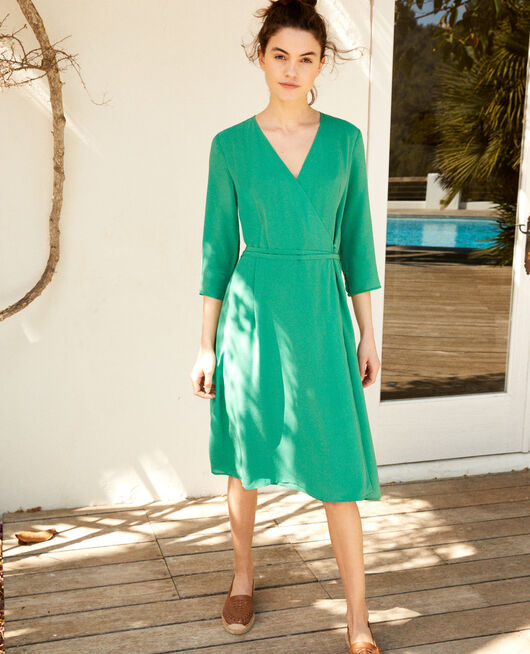 Silk wrap dress GREEN