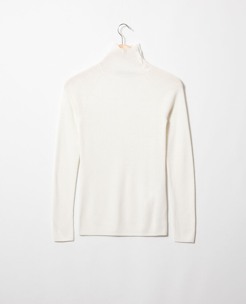 Jumper with buttons on the collar 100% Merino Wool Off white Jemo