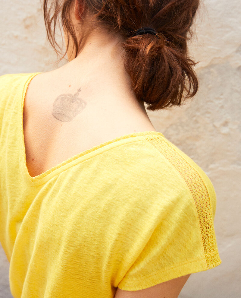 T-shirt with lace Spice yellow Itlanta