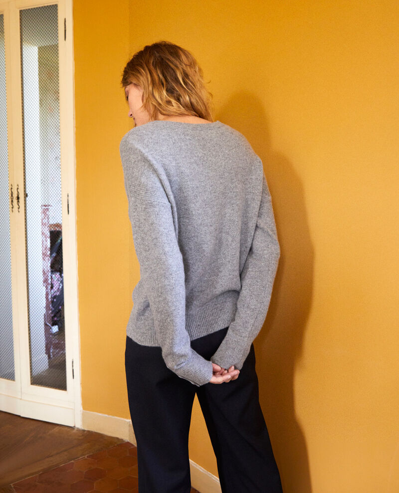 Jumper with buttons on the sleeves 100% cashmere Light grey Jypie